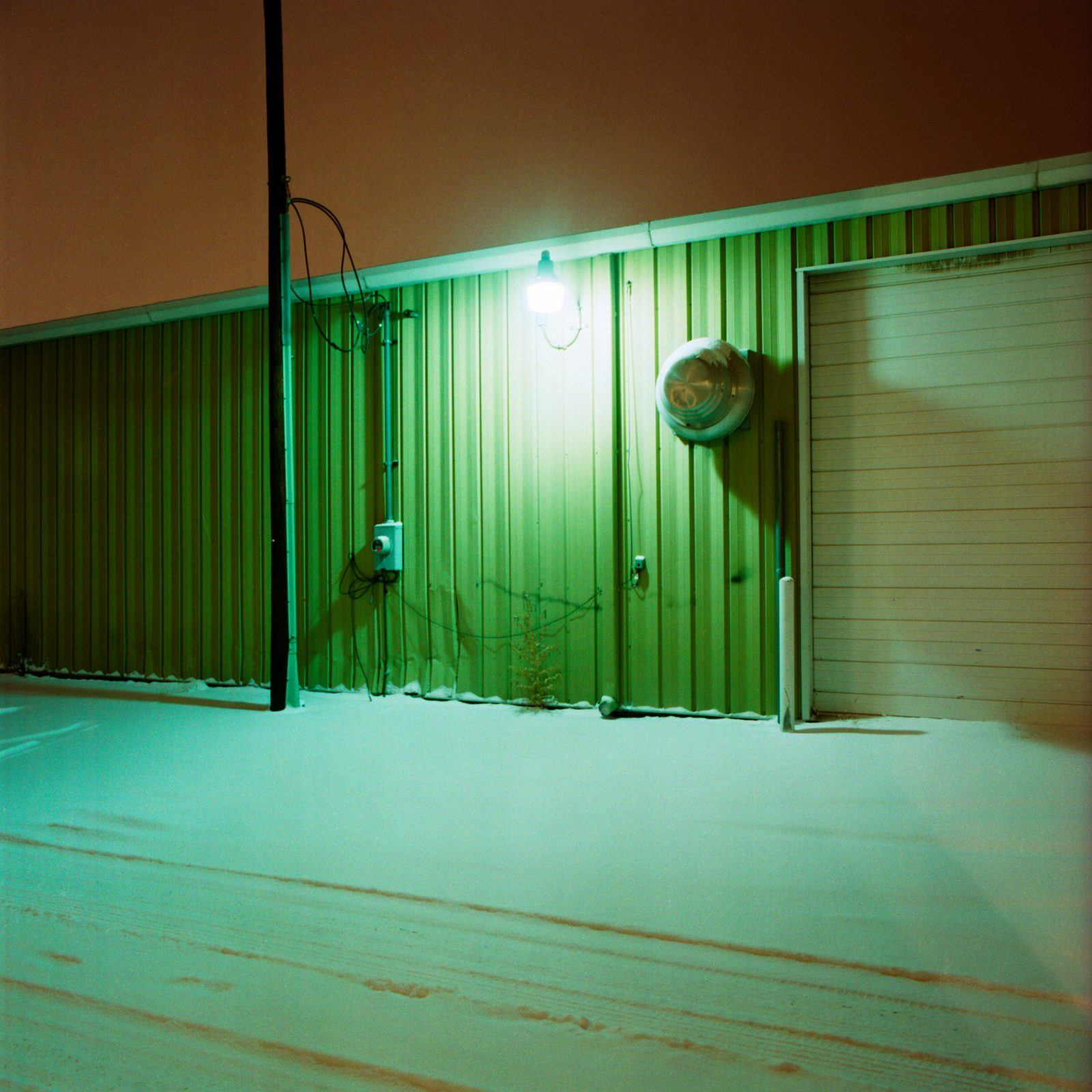 Denver industrial wall during a snowstorm - December 28, 2009