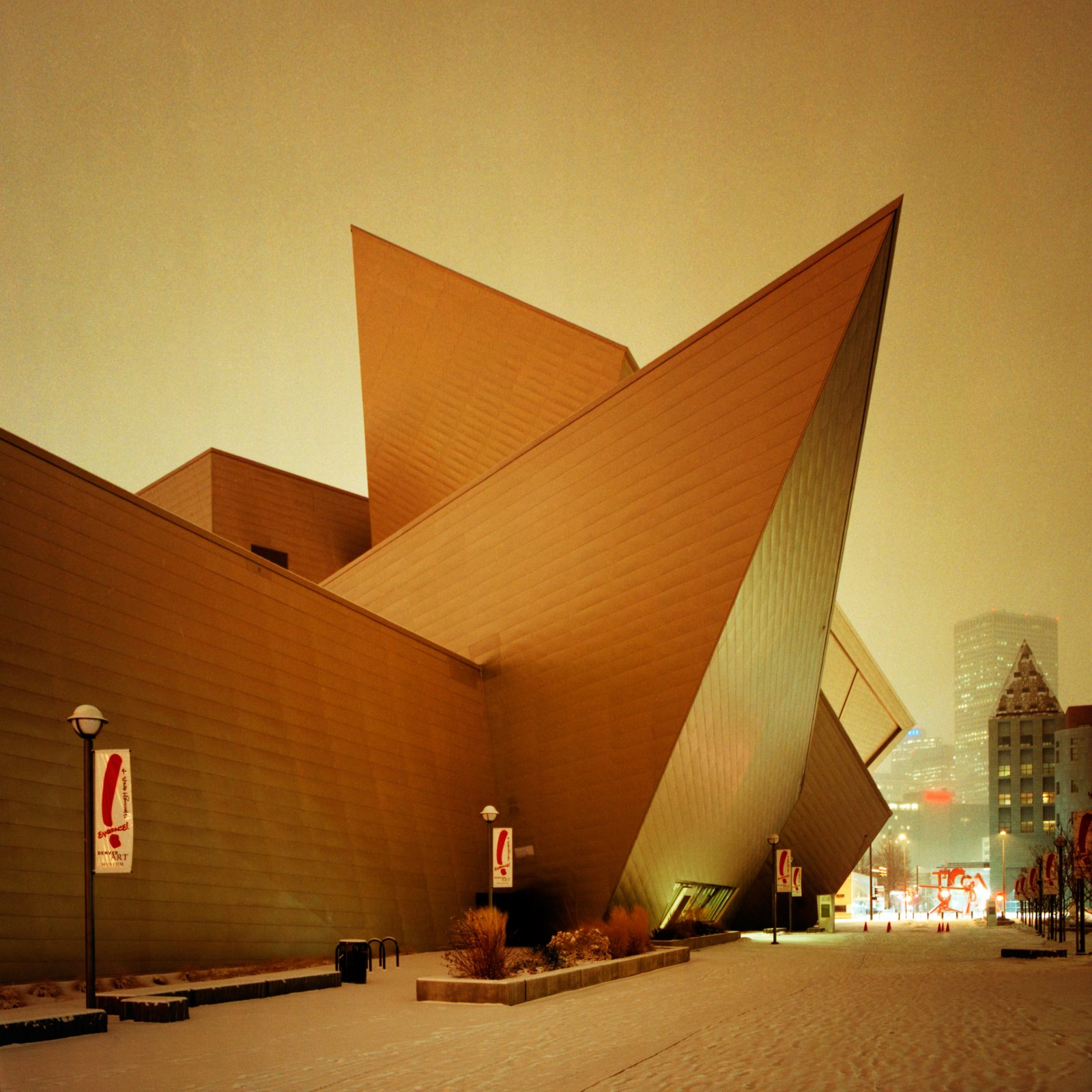 Denver Art Museum at night during a snowstorm