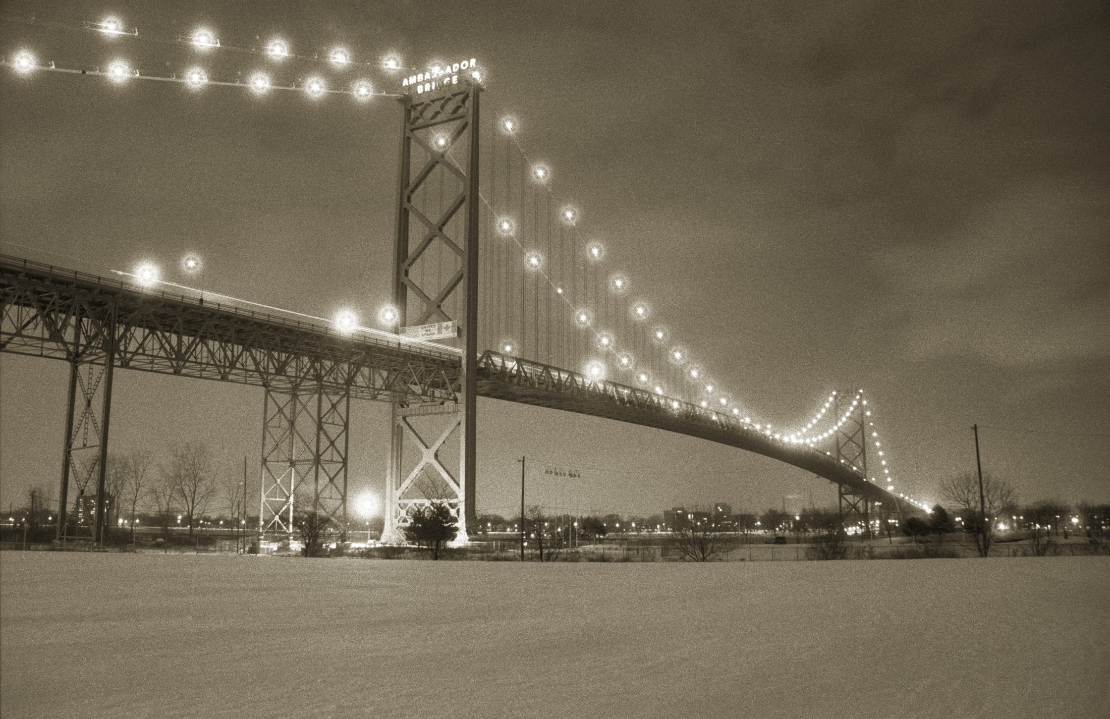 Ambassador Bridge at night