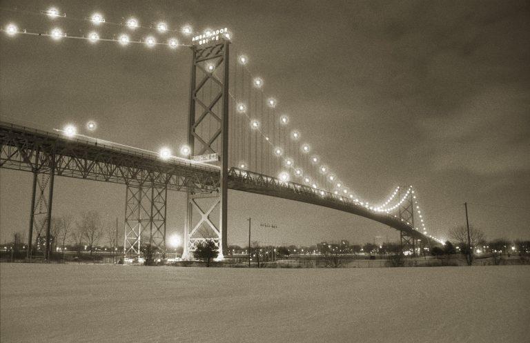 Ambassador Bridge at night