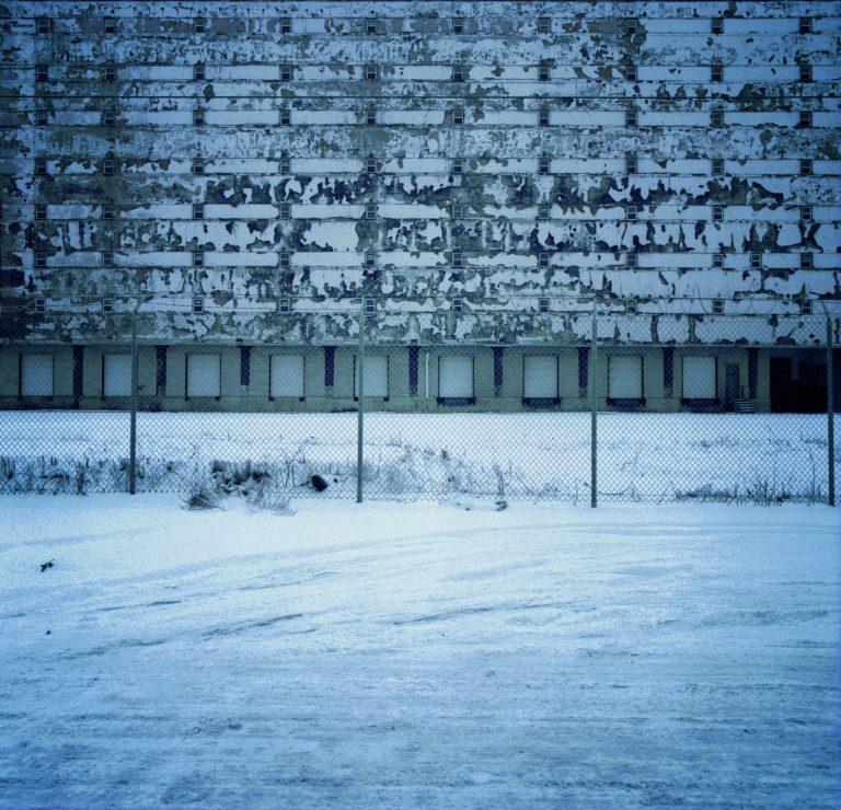 Factory wall at night. Detroit, Michigan.