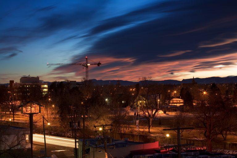 Sunset over the west side of Denver