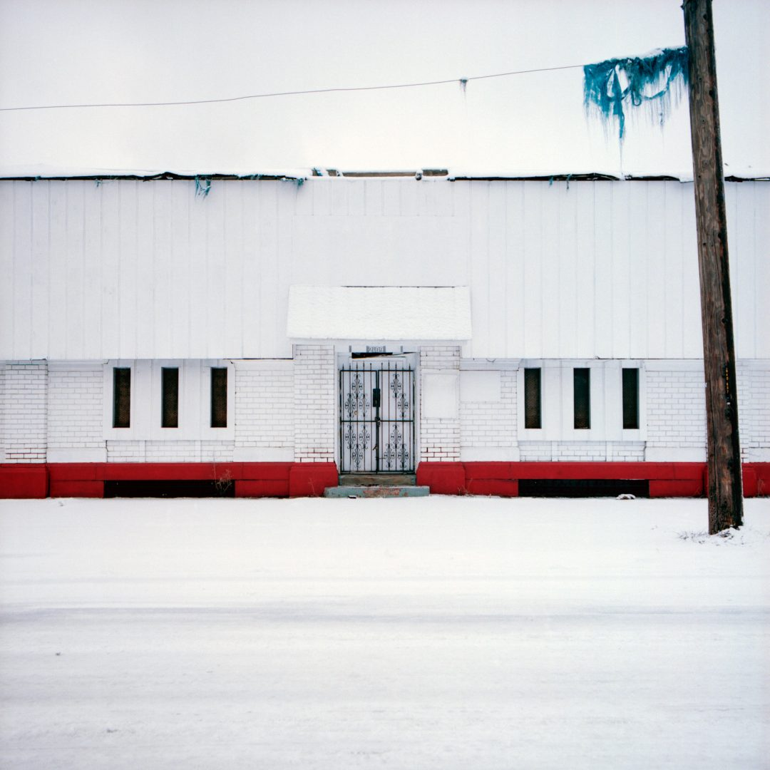 Light industrial building in Detroit in the snow