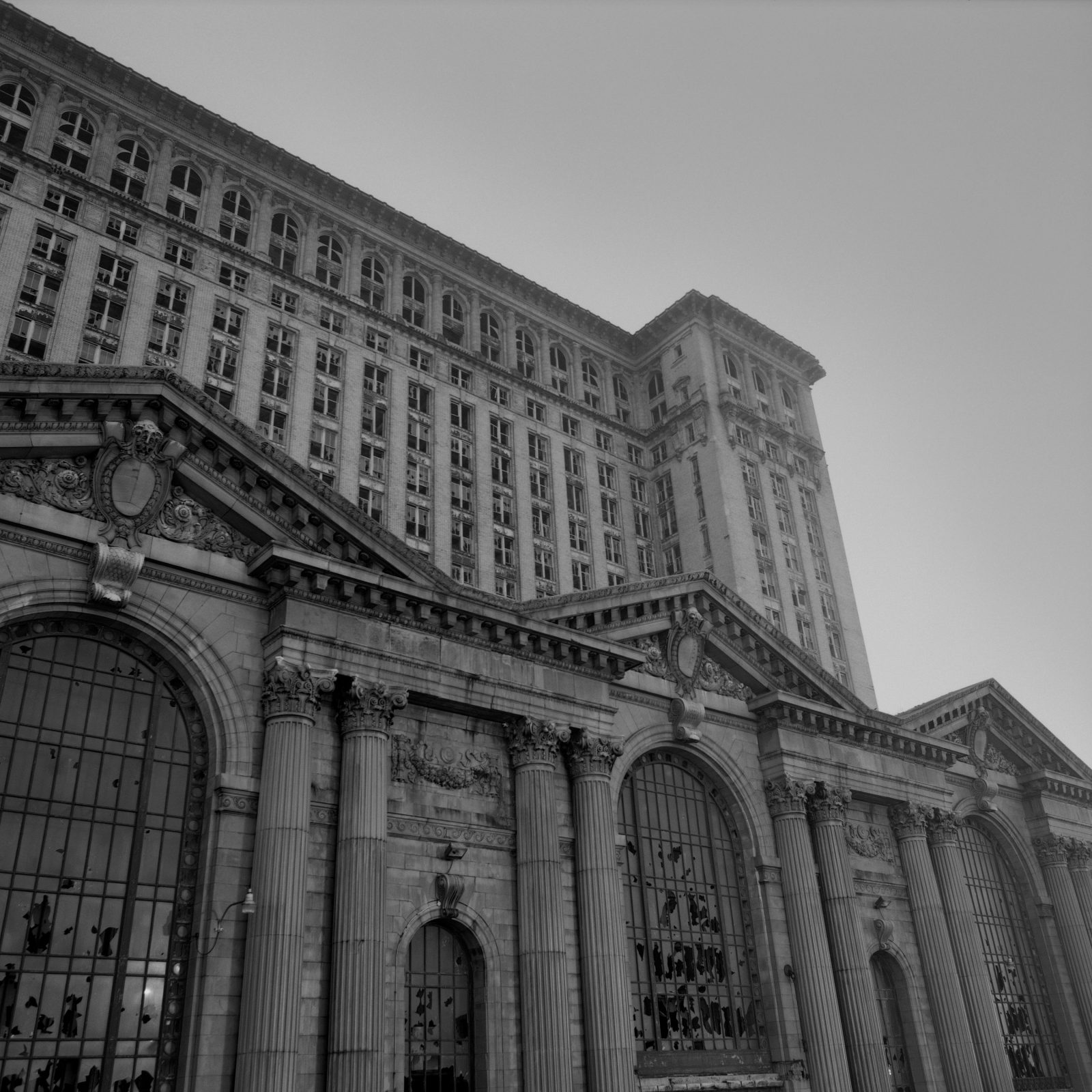 Michigan Central station at night. Detroit, Michigan.