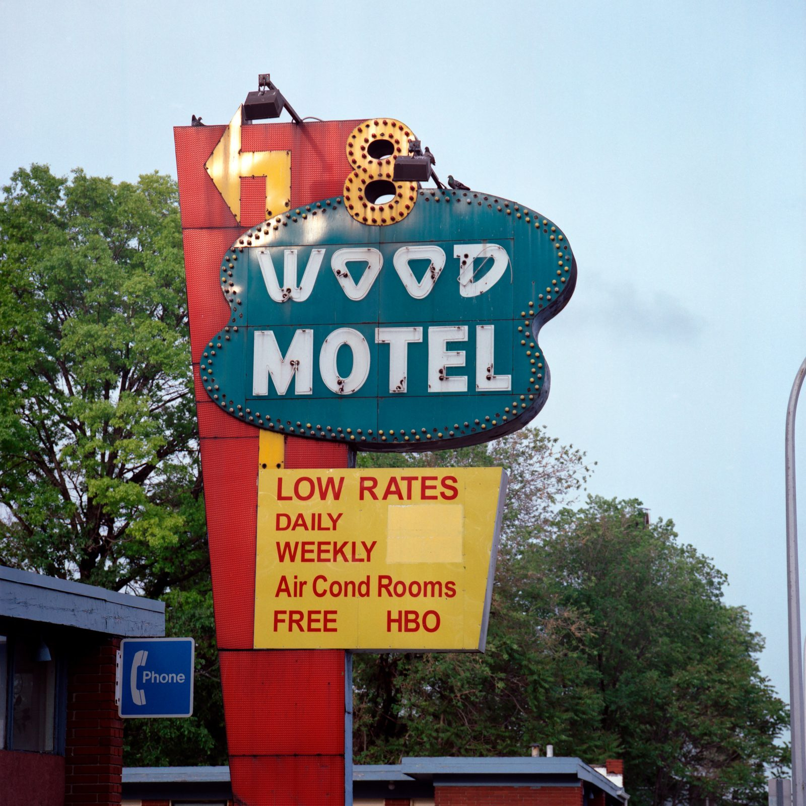 8 Wood Motel sign. Detroit, Michigan.