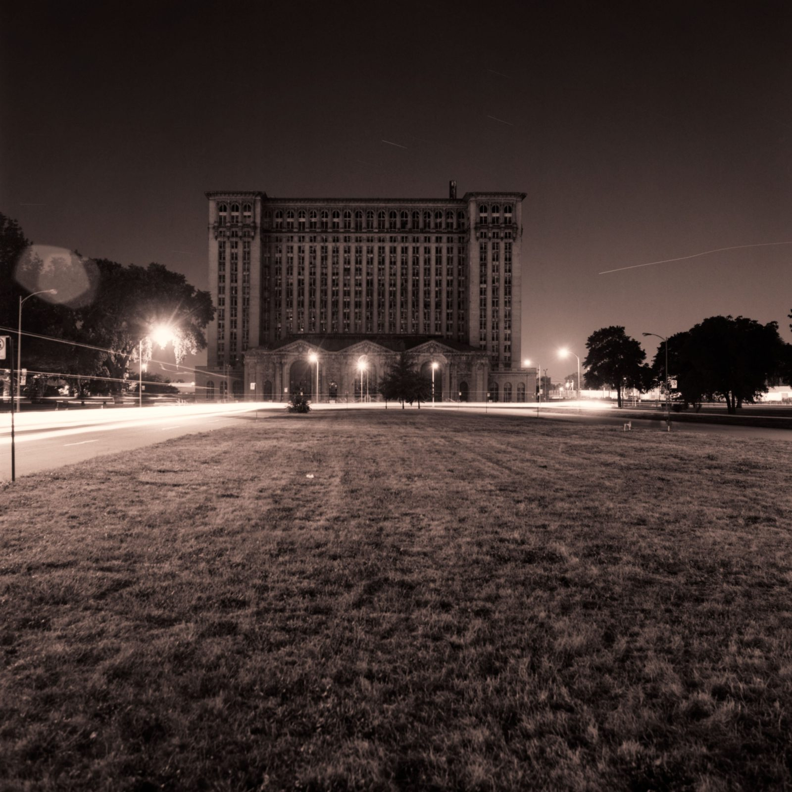 Michigan Central Station at night