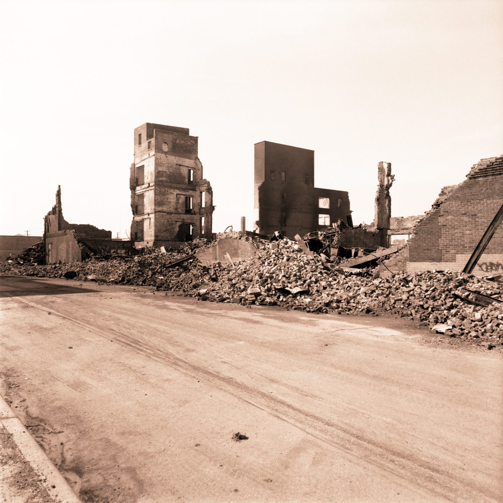 Studebaker Plant after the fire. Detroit, Michigan.
