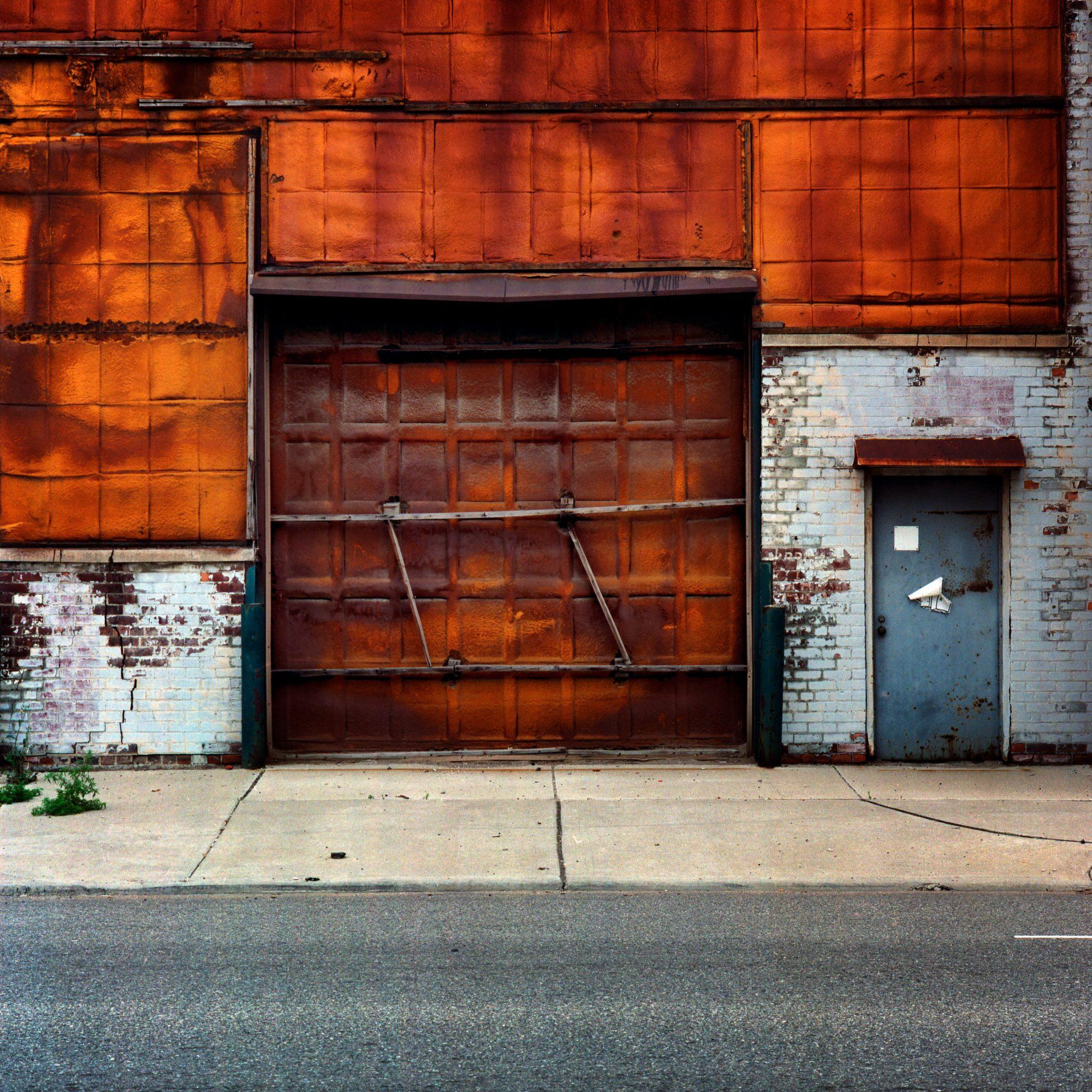 Orange wall and door. Detroit.