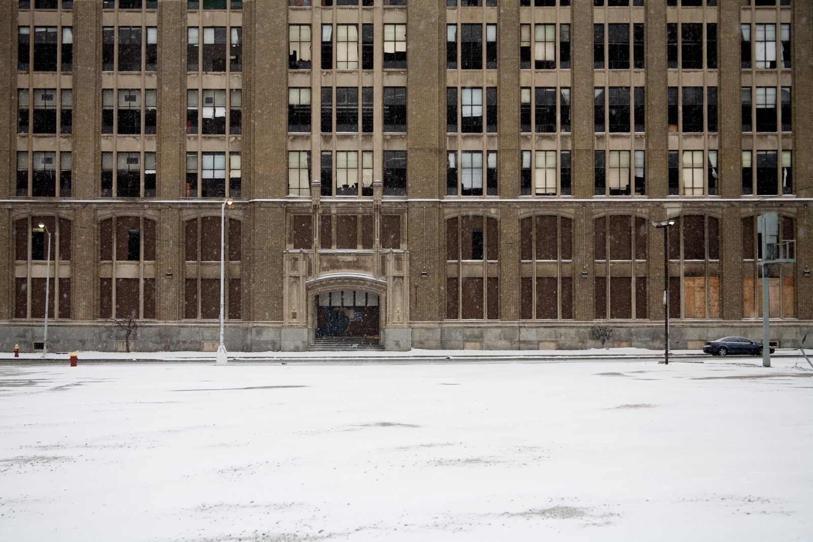 Cass Tech High School. Abandoned in winter. Detroit, Michigan.