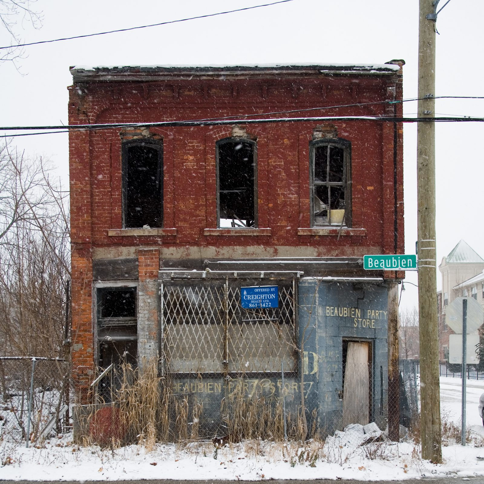 Abandoned Beaubien Party Store in winter. Detroit, Michigan.