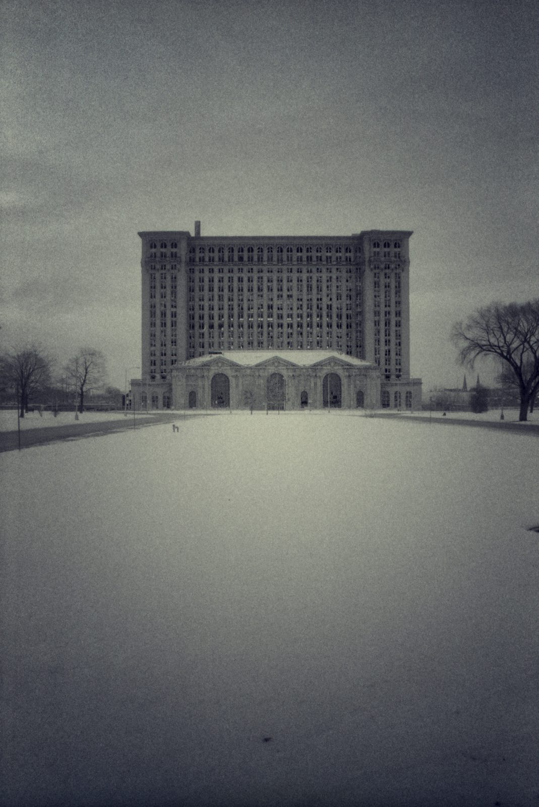 Michigan Central Station, at night, in winter. Detroit, Michigan.