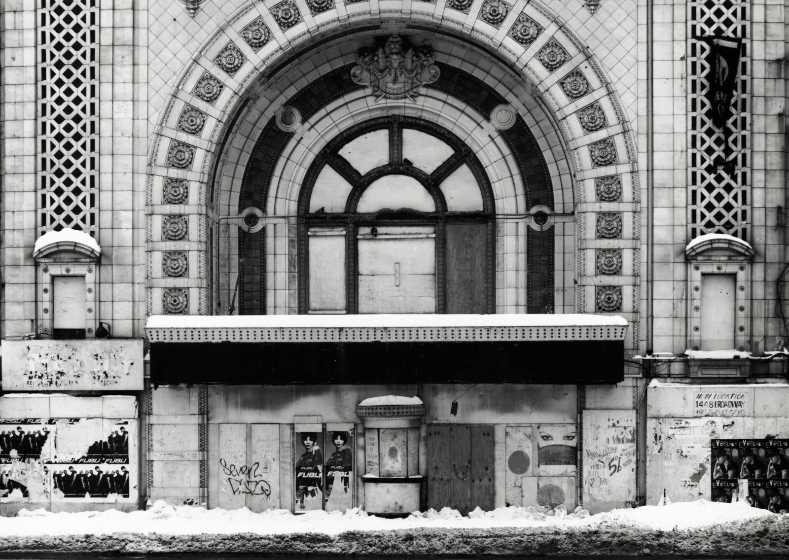 National Theater in winter. Detroit, Michigan.