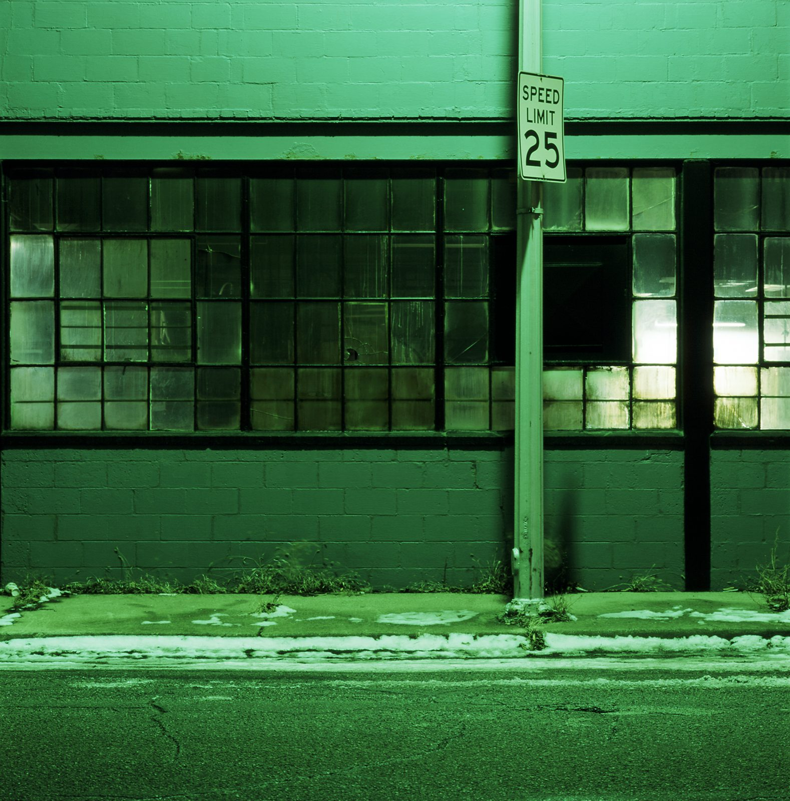 Industrial building at night. Detroit, Michigan.