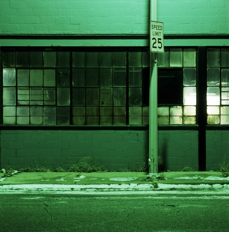Industrial building at night. Detroit, Michigan.