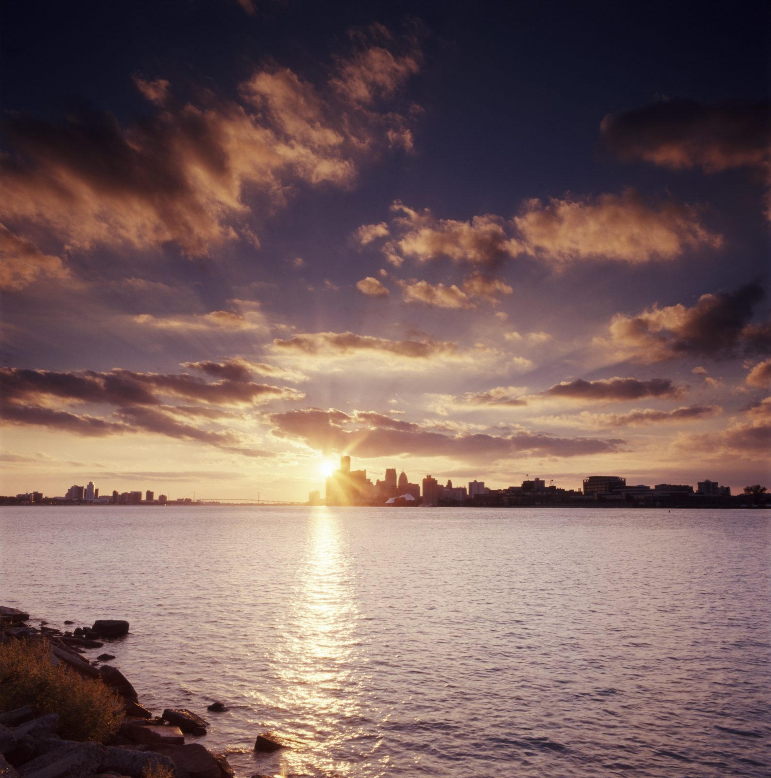 Detroit skyline sunset, from Belle Isle. Detroit, Michigan.