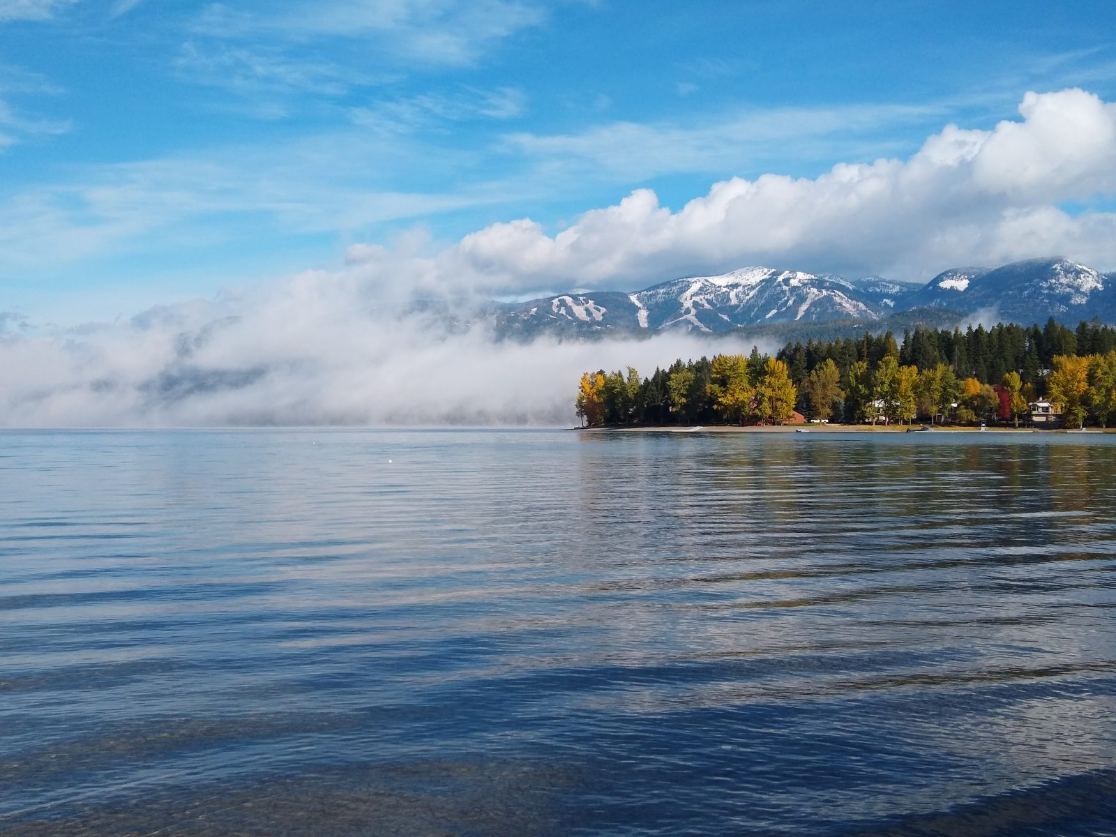 Clearing clouds, Big Mountai, and Whitefish Lake