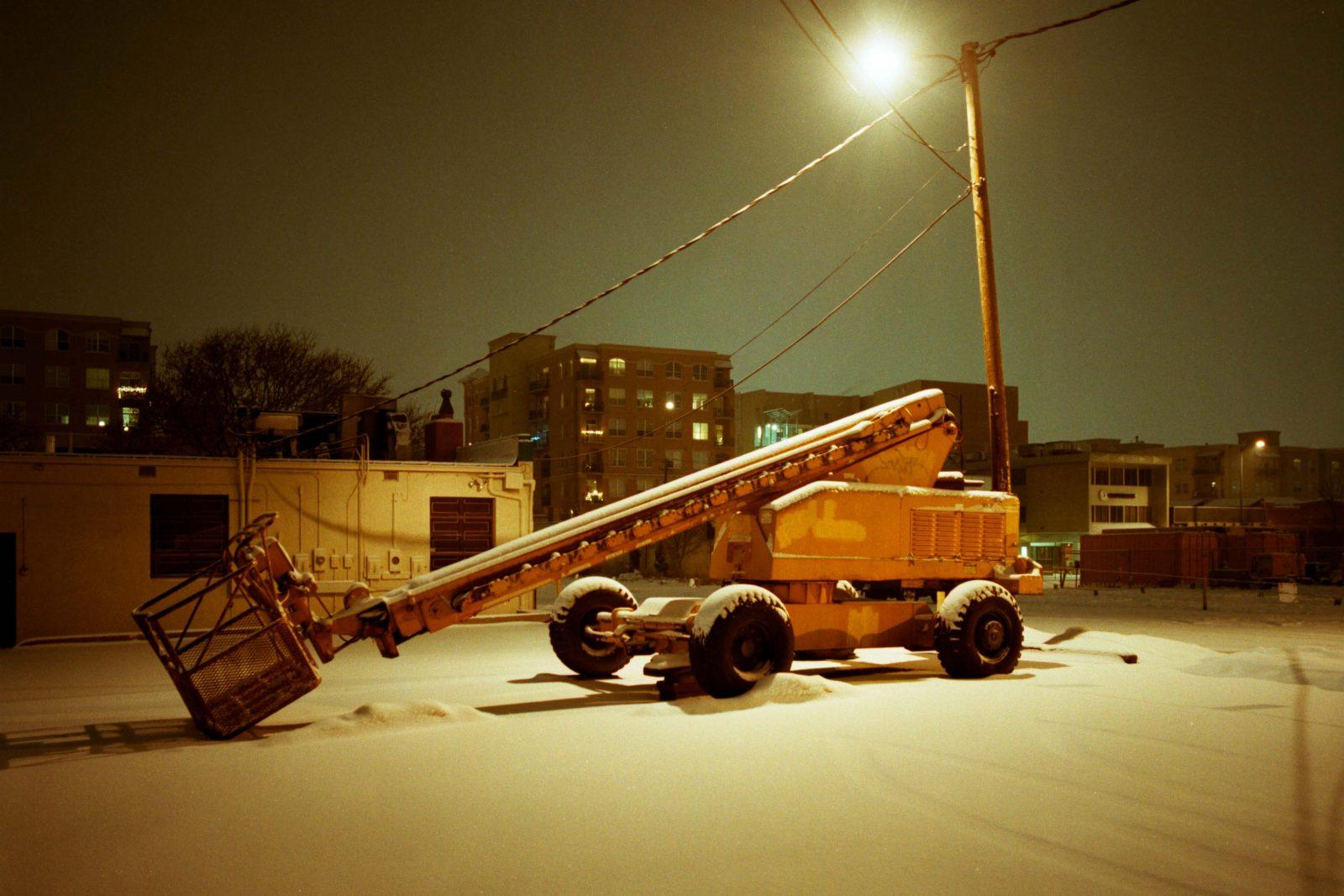 Denver snowstorm at night